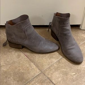 Lucky Brand Gray Suede Booties — Size 9.5